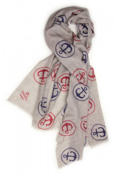 Eco-Shahtoosh Grey Anchor Navy / Red