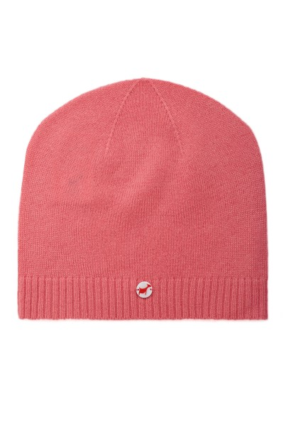 Fine knit cashmere baby cap hot pink
