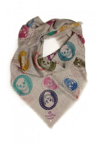 Eco-Shahtoosh Grey Carré Skull Multicolour