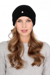 Fine Knit Cashmere Cap black