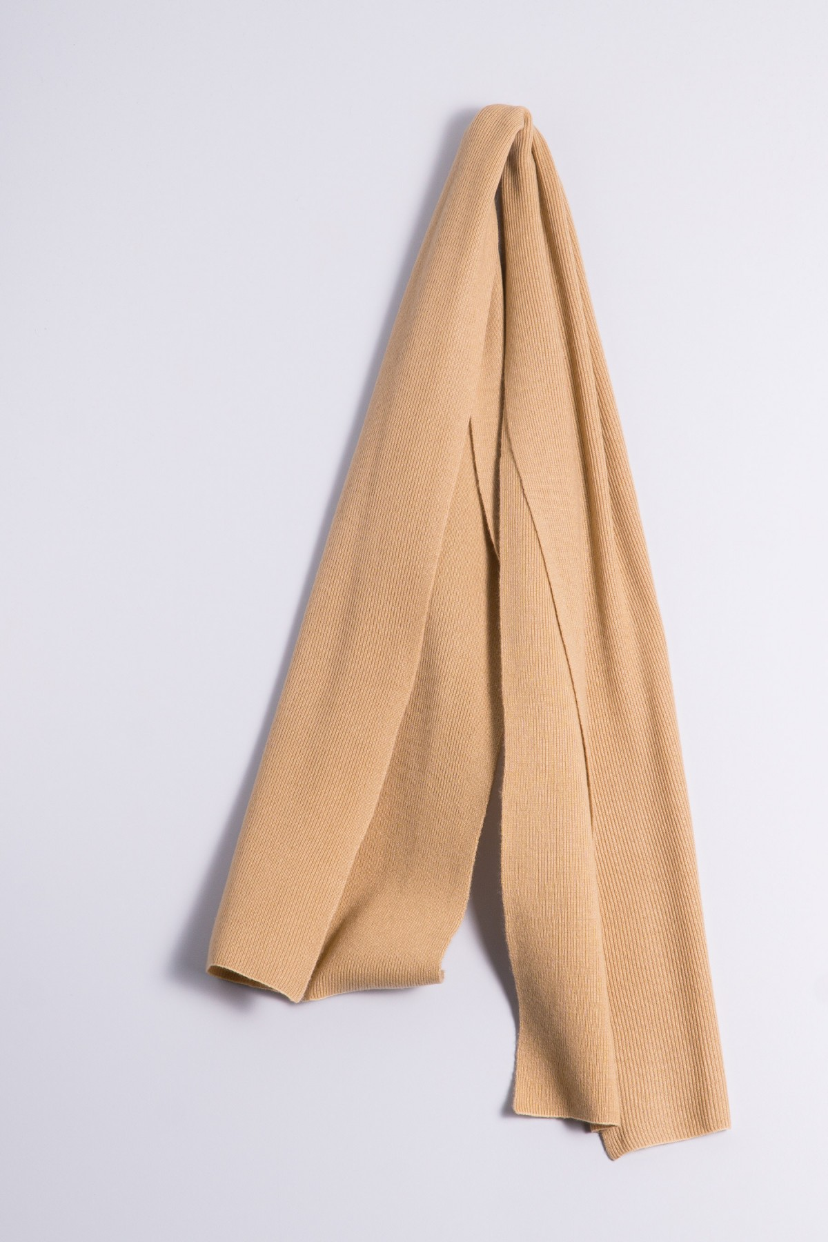 Cashmere ribbed scarf camel