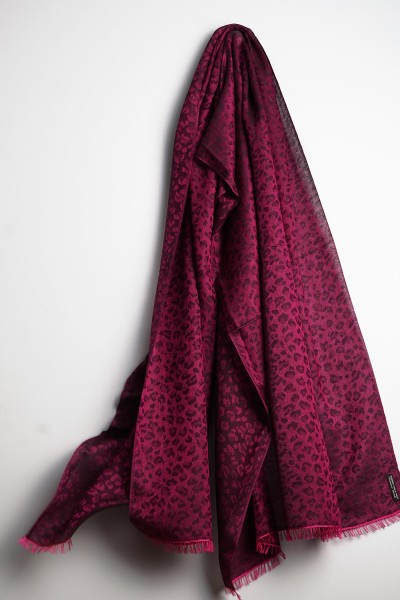 Water-Pashmina Leopard very berry