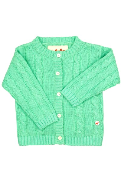 Cable knit cashmere jacket for babies mint