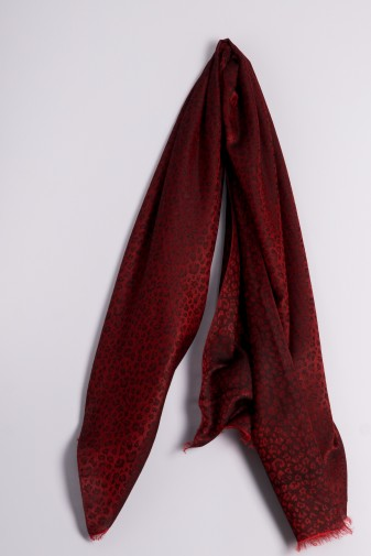 Water-Pashmina Leopard tango red