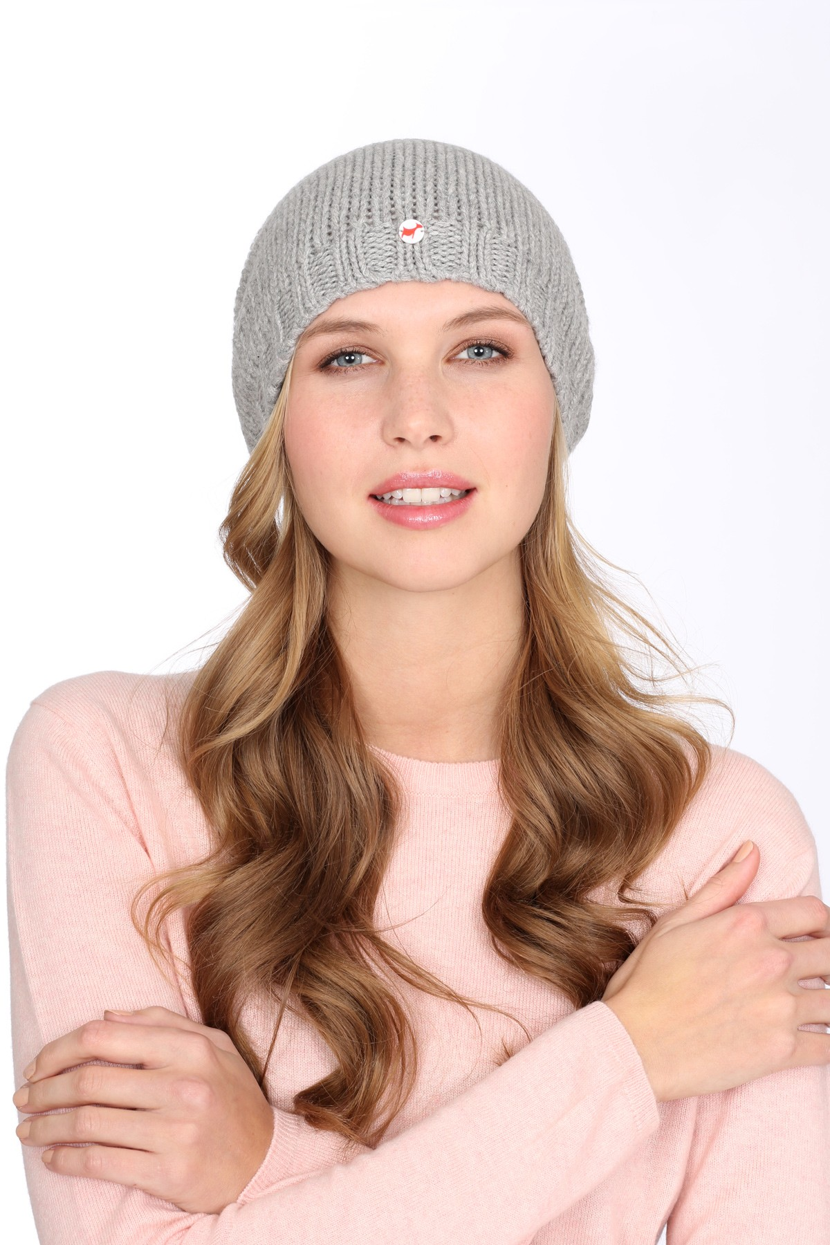 Coarsely knit cashmere cap silver grey