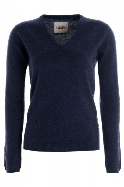 Women's cashmere V-neck sweater navy