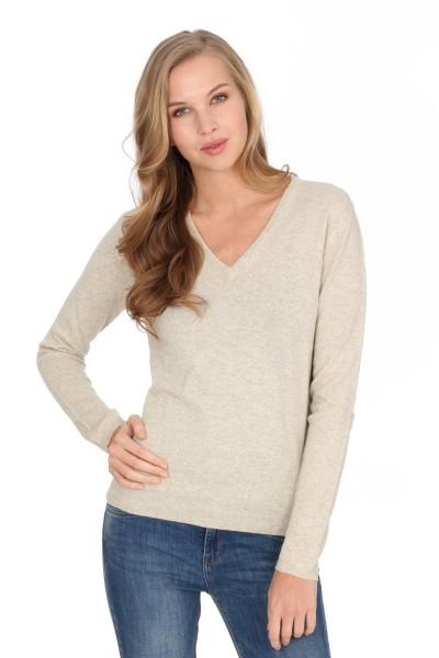 Women's cashmere V-neck sweater linen