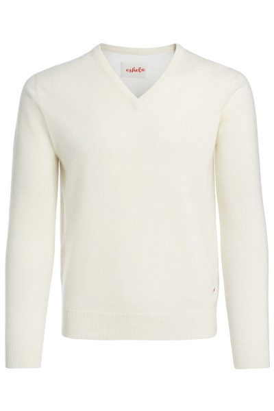 Men's V-neck cashmere sweater offwhite