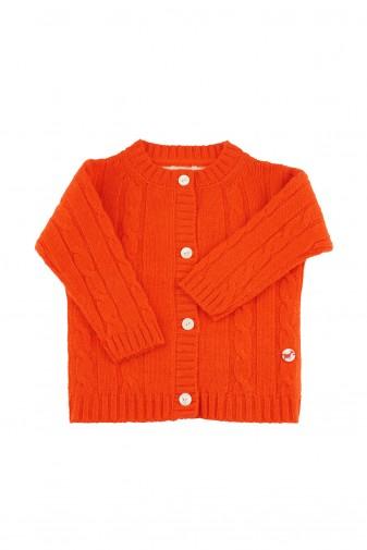 Baby Strickjacke Zopfmuster dark orange