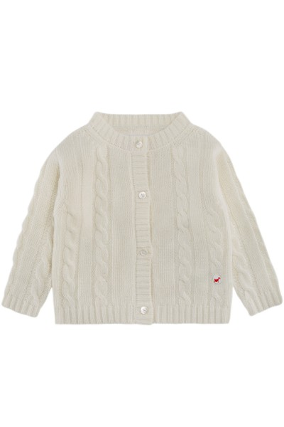 Cable knit cashmere jacket for babies offwhite