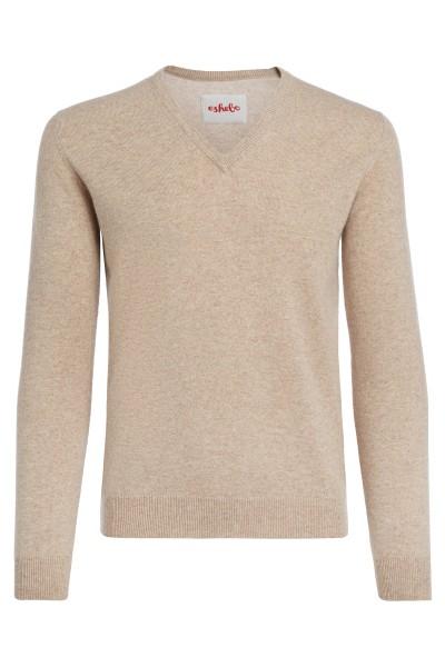 Men's V-neck cashmere sweater sand beige