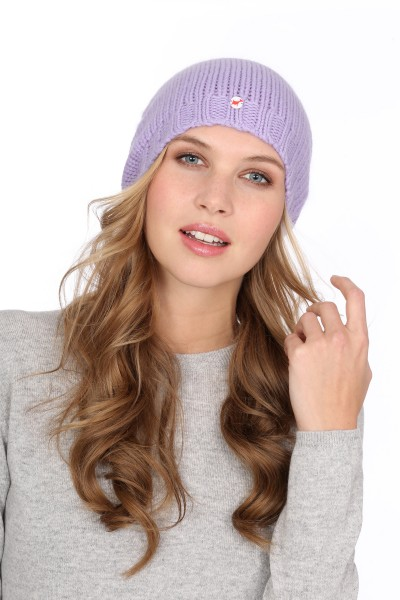 Coarsely knit cashmere cap lilac