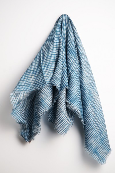 Eco-Shahtoosh Tokha Grey Moroccan Blue