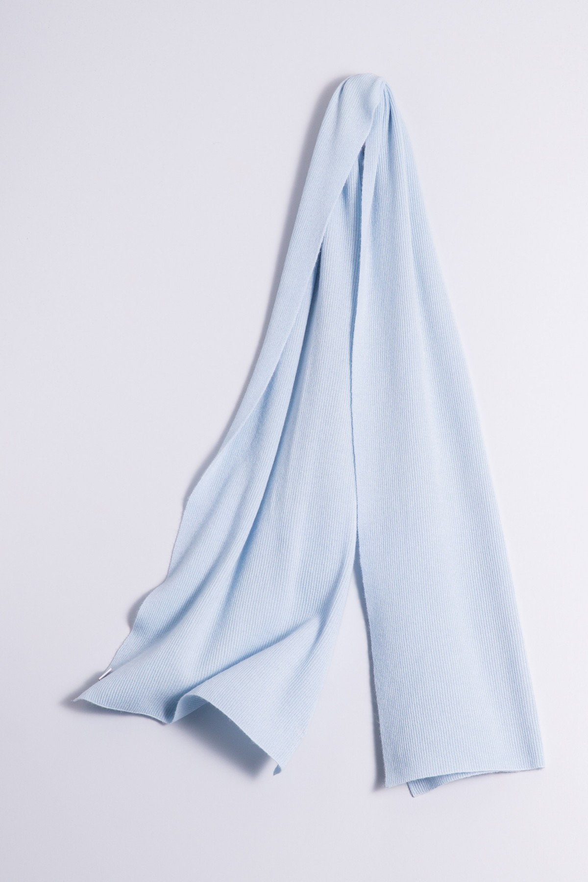 Cashmere ribbed scarf light blue