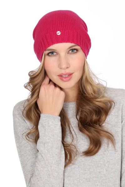 Fine Knit Cashmere Cap fuchsia pink