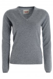 Women's cashmere V-neck sweater uniform grey