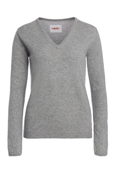 Women's cashmere V-neck sweater grey melange