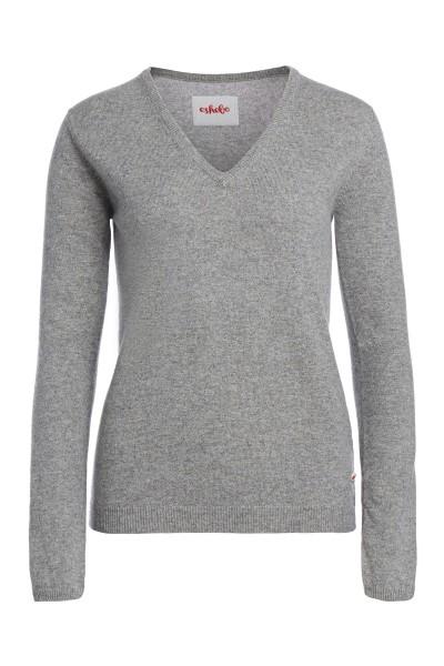 Kaschmirpullover V-Neck grey melange