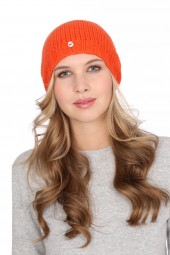 Coarsely knit cashmere cap dark orange