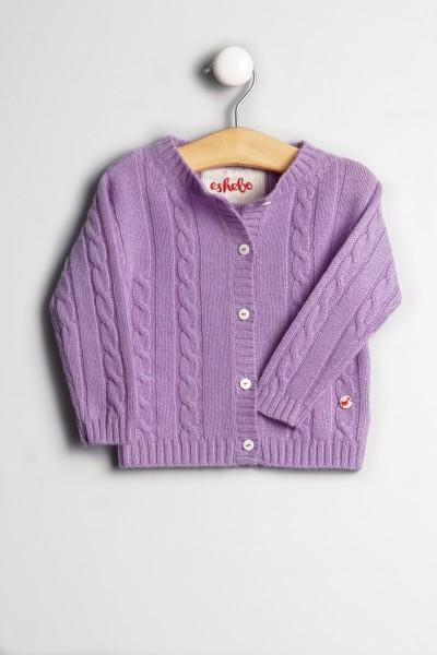 Baby Strickjacke Zopfmuster lilac