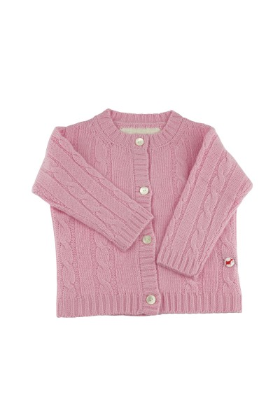 Baby Strickjacke Zopfmuster rosy pink
