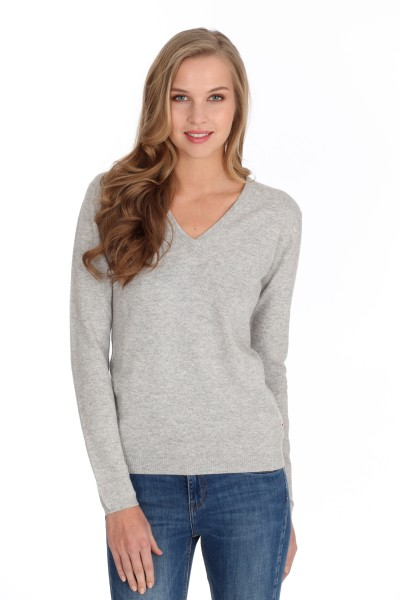 Women's cashmere V-neck sweater oyster gray