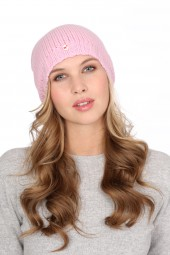 Coarsely knit cashmere cap rosy pink