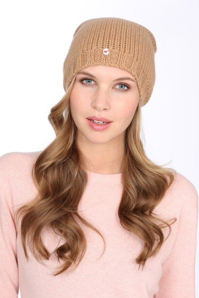 Coarsely knit cashmere cap camel