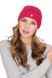 Coarsely knit cashmere cap fuchsia pink