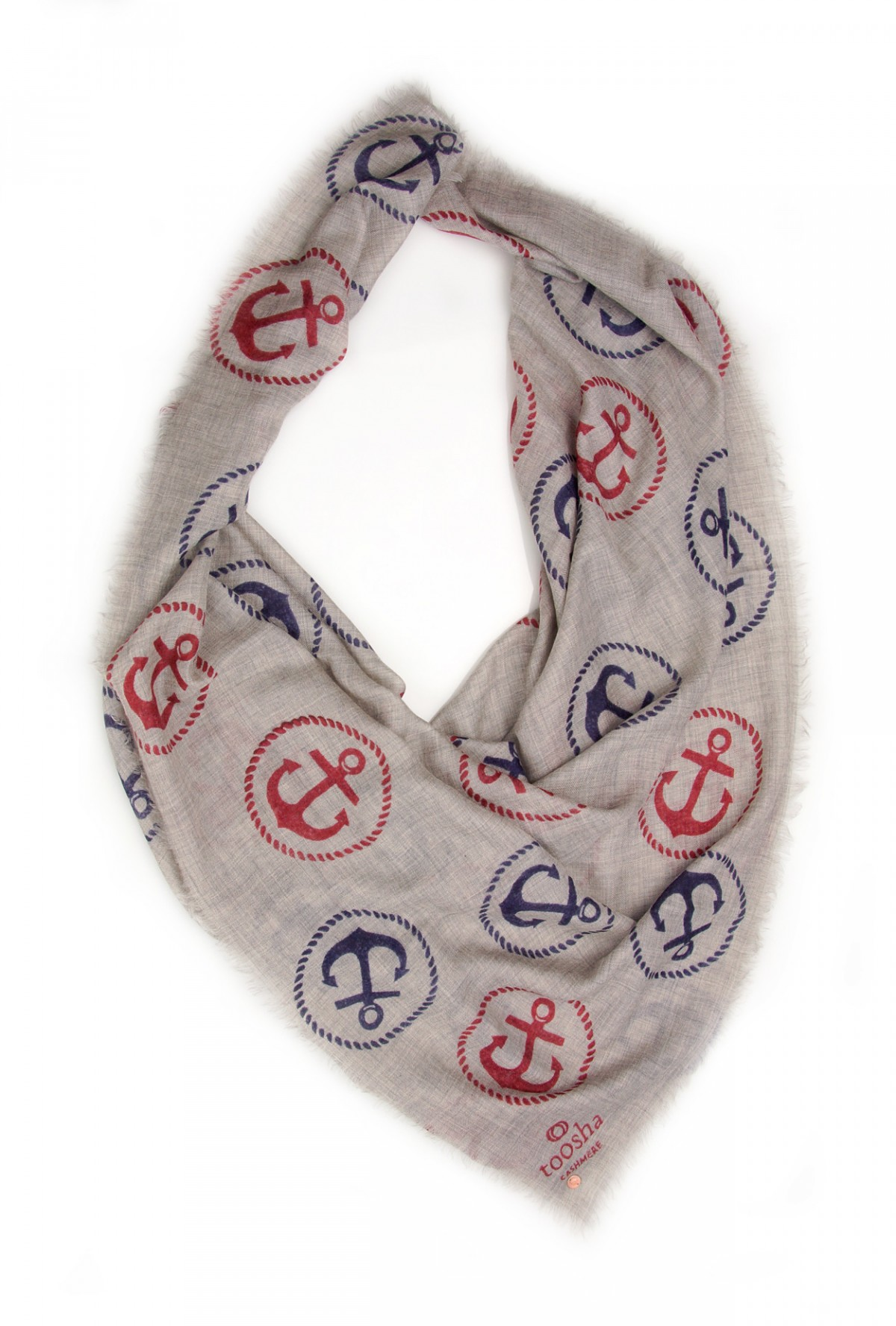 Eco-Shahtoosh Grey Carré Anchor Navy / Red