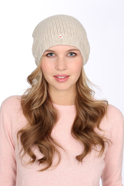 Coarsely knit cashmere cap linen