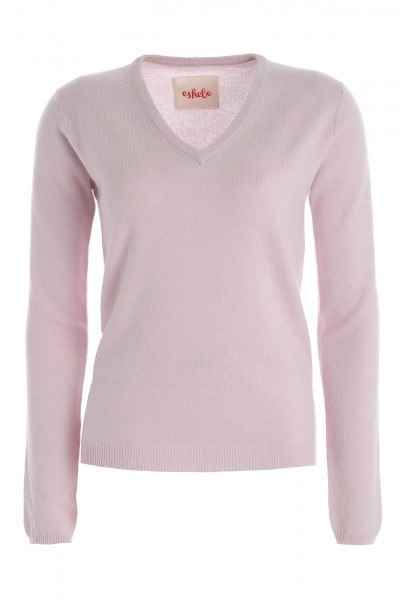 Women's cashmere V-neck sweater pale purple