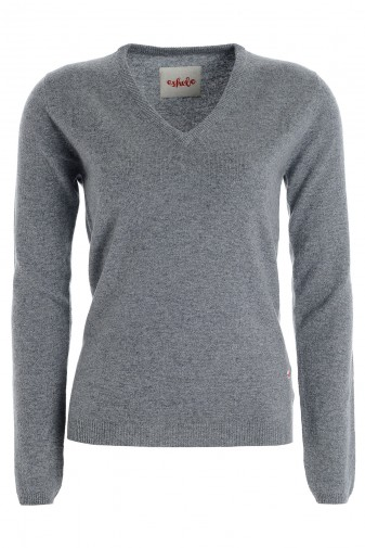 Kaschmirpullover V-Neck uniform grey