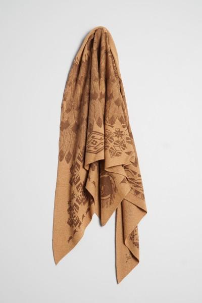 Triangle Strick Indianer camel melange / chocolate
