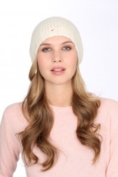 Coarsely knit cashmere cap offwhite