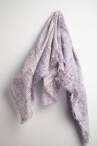 Eco-Shahtoosh Thaha Carré White Purple Sage