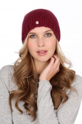 Coarsely knit cashmere cap burgundy