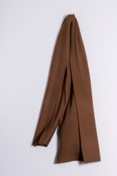 Cashmere ribbed scarf choco brown