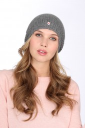 Coarsely knit cashmere cap derby grey