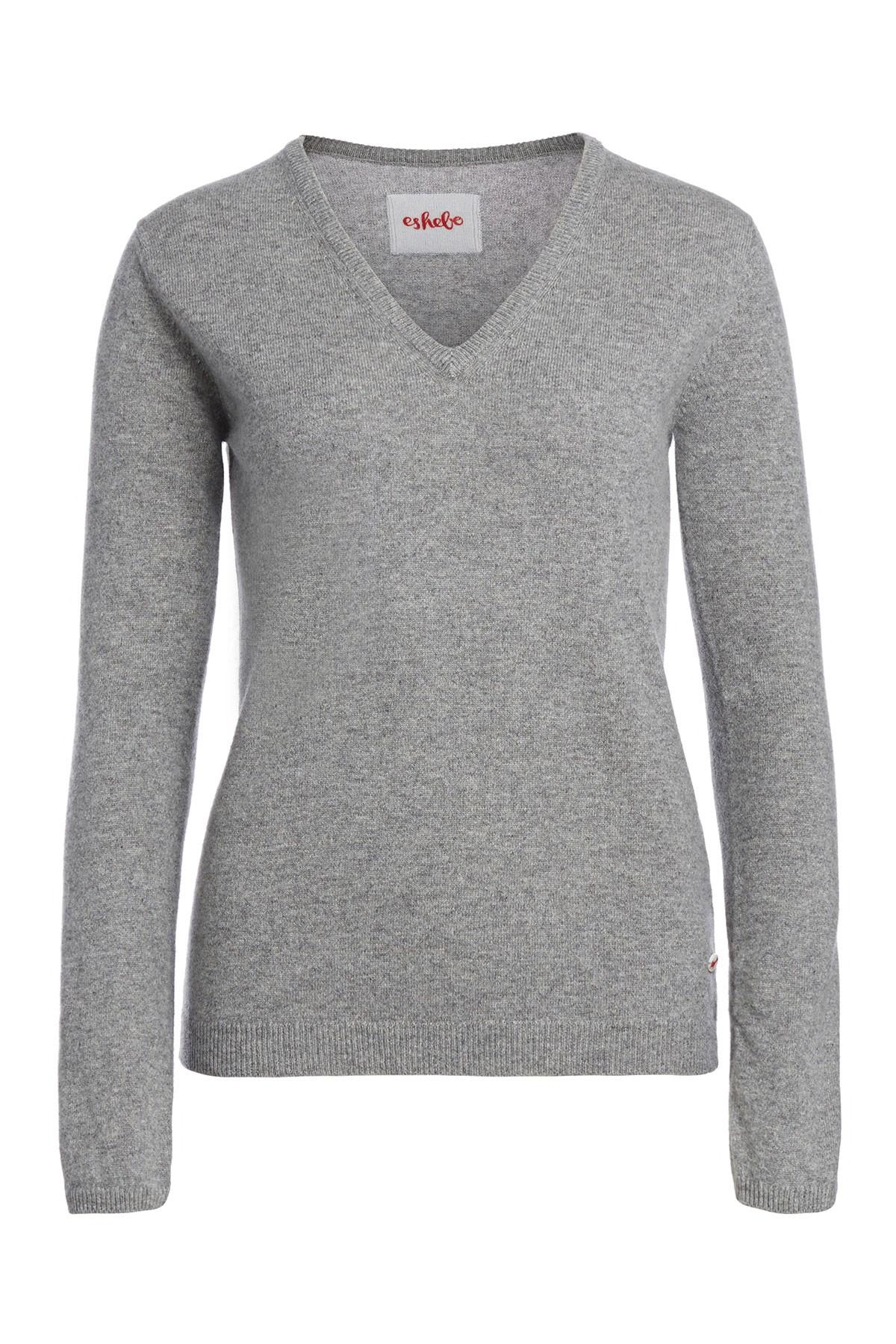 Women's cashmere V-neck sweater grey melange