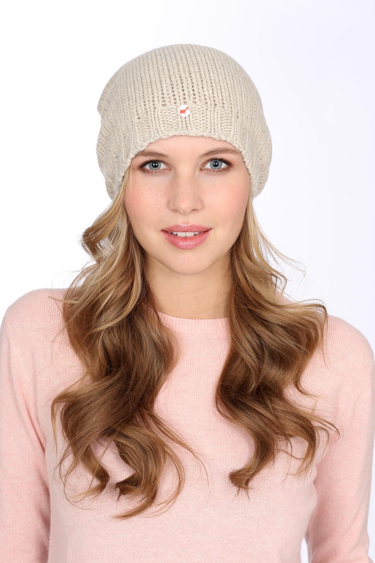 Coarsely knit cashmere cap linen