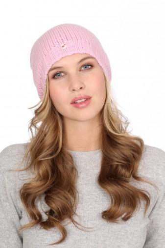 Kaschmirmütze Grobstrick rosy pink