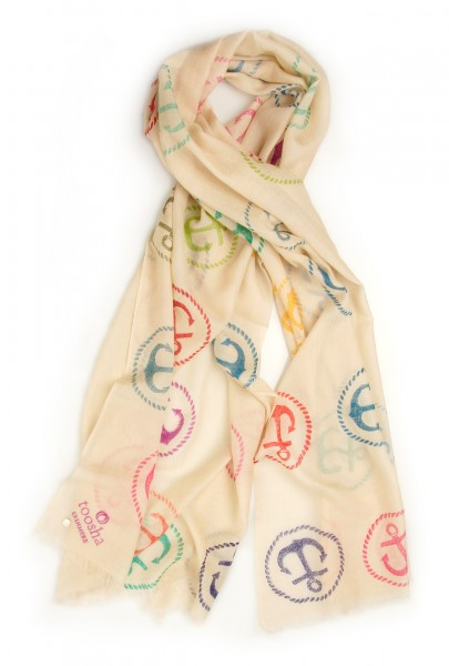 Eco-Shahtoosh Beige Anchor Multicolour