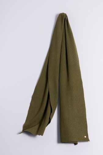 Cashmere ribbed scarf olive