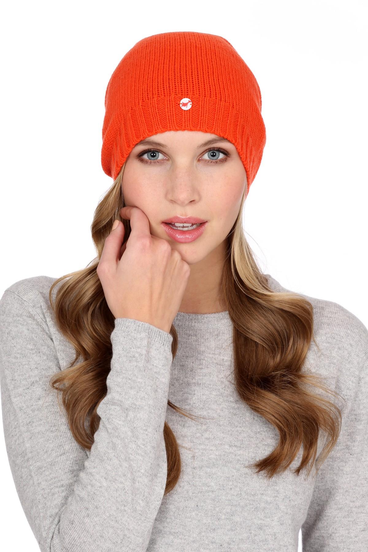 Fine Knit Cashmere Cap dark orange