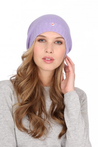 Kaschmirmütze Feinstrick lilac