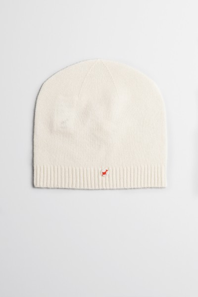 Fine knit cashmere baby cap offwhite