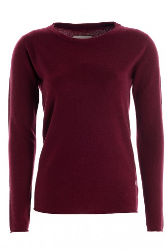 Women's long sleeve cashmere top burgundy