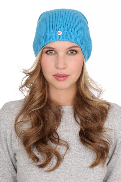 Coarsely knit cashmere cap cyan blue