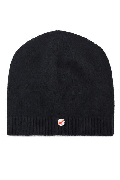 Fine knit cashmere baby cap black